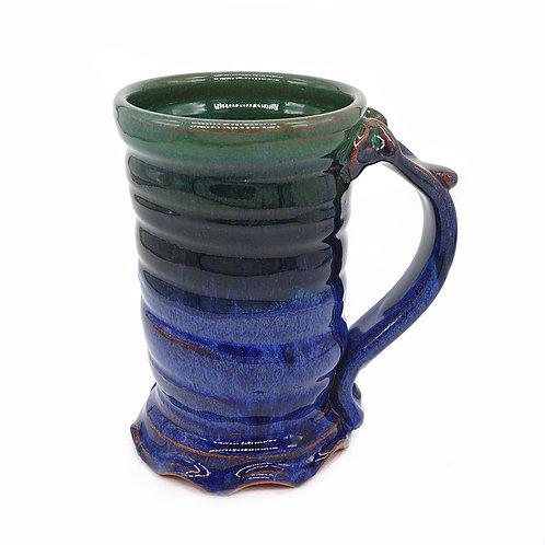 Spiral mug in green and blue glaze