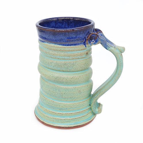 Spiral mug in celadon and blue glaze