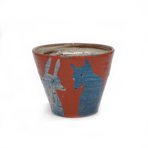 Red Cup with Blue Fox and Rabbit