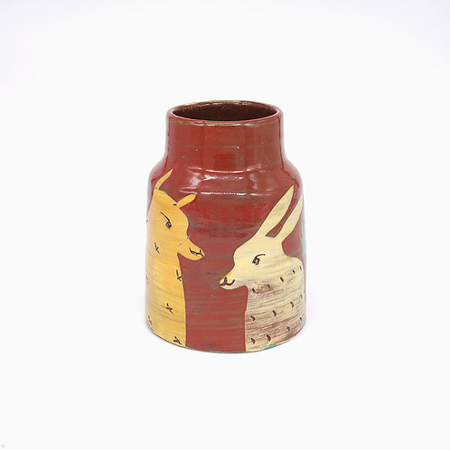 Small Red Vase with Yellow Rabbits