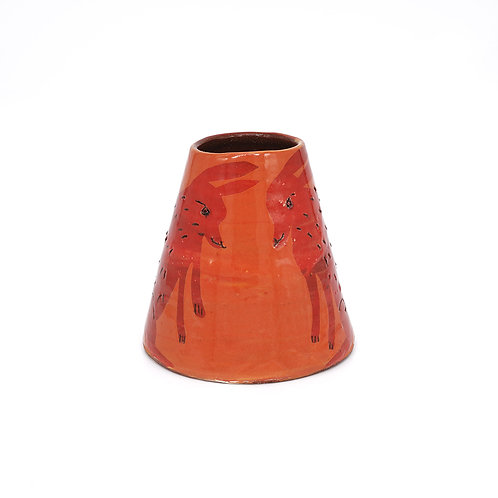 Small Orange Vase with Red Rabbits