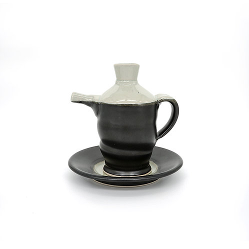 Spouted Bottle/Bud Vase in Black l White glaze