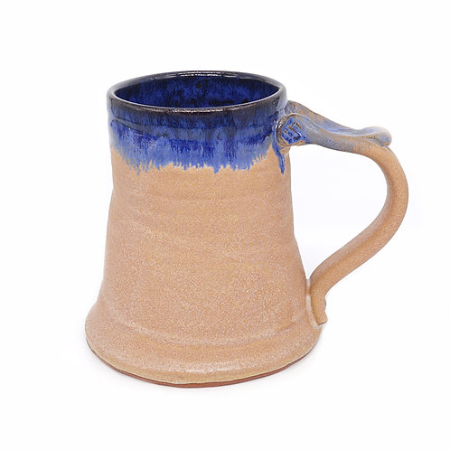 Mug in adobe and blue glaze