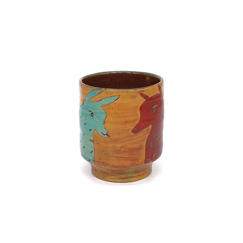 Yellow Cup (Yunomi) with Turquoise Rabbit and Red Fox