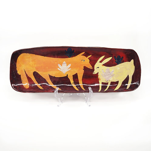 Deep Red Platter with Orange Fox and Yellow Rabbit