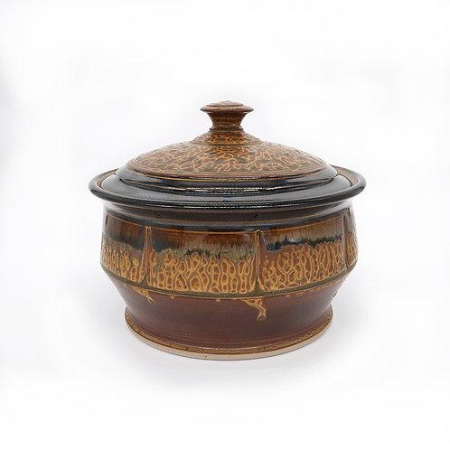 Small Casserole in Brown Ash glaze