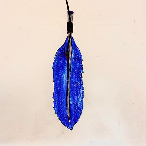 Glass Feather - cobalt blue