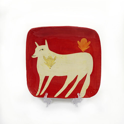 Red Platter with Yellow Fox