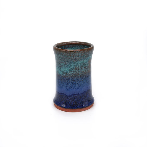 Mini vase in blue and teal glaze