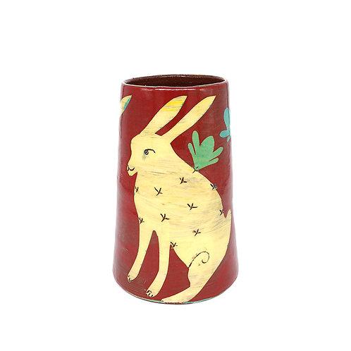 Medium Red Vase with Yellow Rabbits