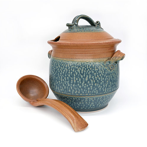 Soup Tureen with Ladle in Tan l Ash glaze