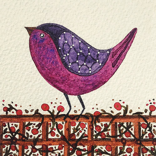 Magenta Bird Greeting Card