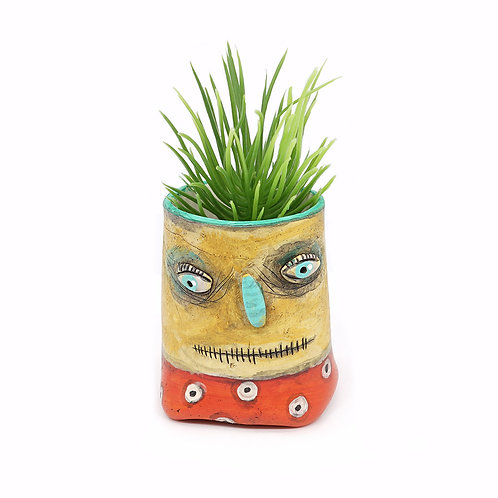 Yellow Pot Head with Teal Nose