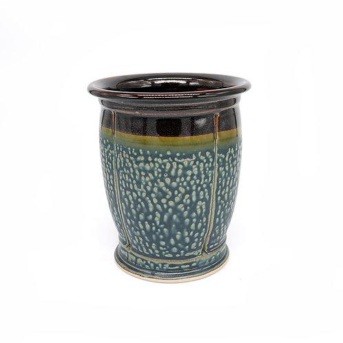 Wide vase/Utensil Holder in Black l Ash glaze