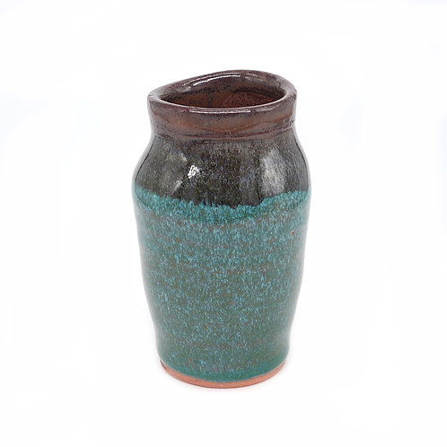 Mini vase in brown and teal glaze