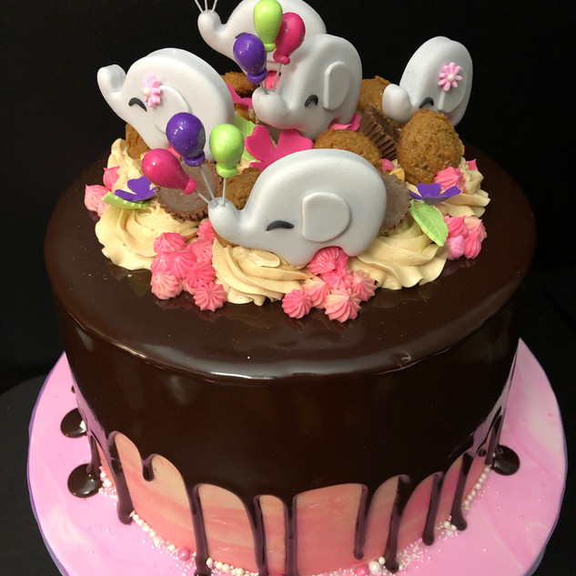 Elephant dripping cake