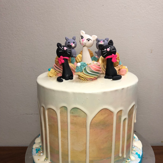 Cats Dripping Cake