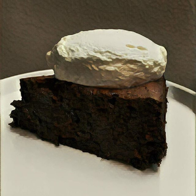 Chocolate, prune rum cake with vanilla w