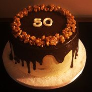 Peanut butter and chocolate dripping cake
