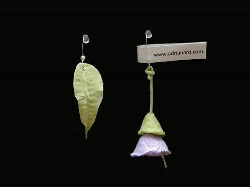 Pendientes flor y hoja - Flower and leaf earrings