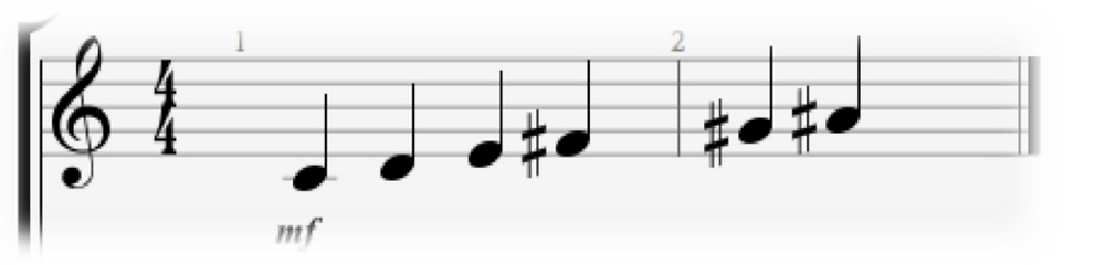 C Whole Tone Scale Notation