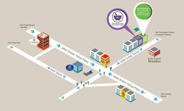 peta lokasi klinik adilla