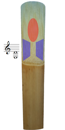 Clarinet reed with low register adjustments highlighted.