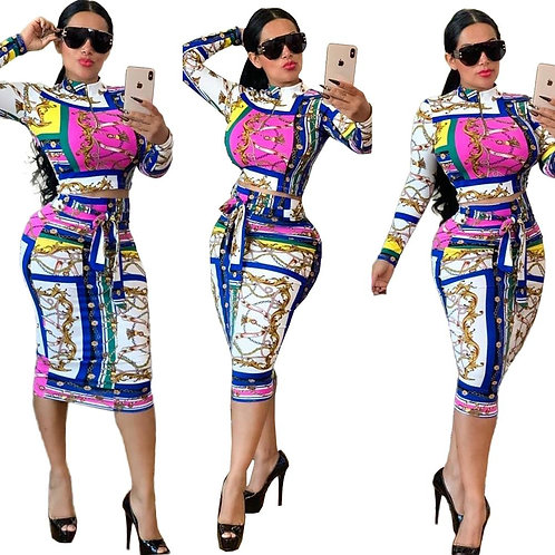 2019Hot Sale Long Sleeve Printed Two Piece Set Women Plus Size Casual Dress