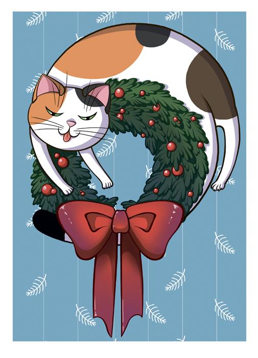 Рождественский котик (а6)