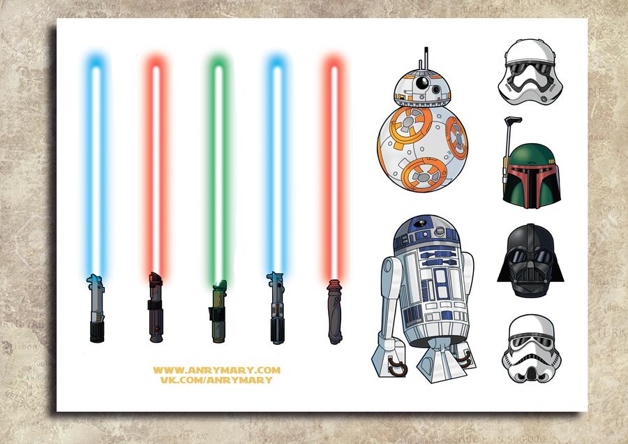 """Стикеры на пленке """"Star Wars иконки"""""""