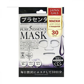 Japan Gals Маски для лица Pure 5 Essential с плацентой 30 шт