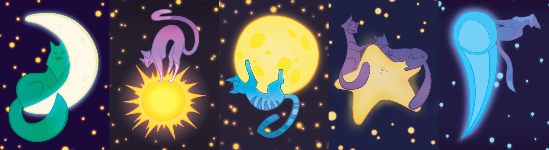 """Комплект открыток """"Звездные кошки"""""""