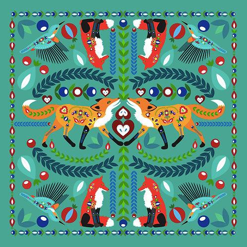 Šátek tyrkysový s liškami