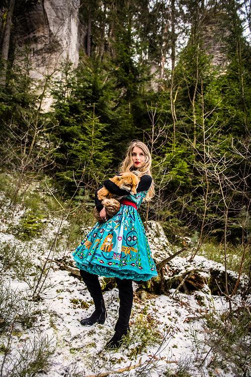 PECKA tyrkysové šaty s liškou