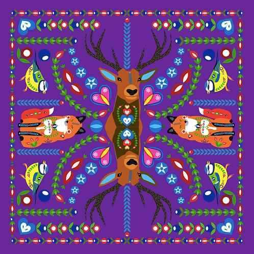 Šátek fialový s jelenem