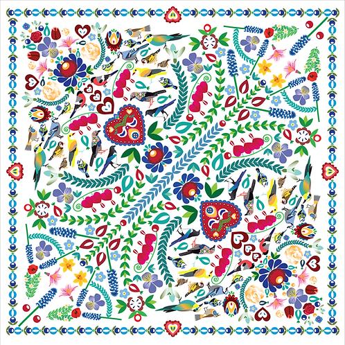 Šátek květinový bílý