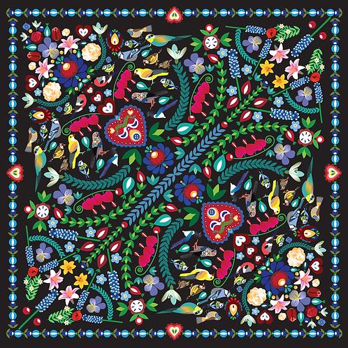 Šátek květinový černý
