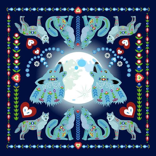 Šátek tmavě modrý s vlky