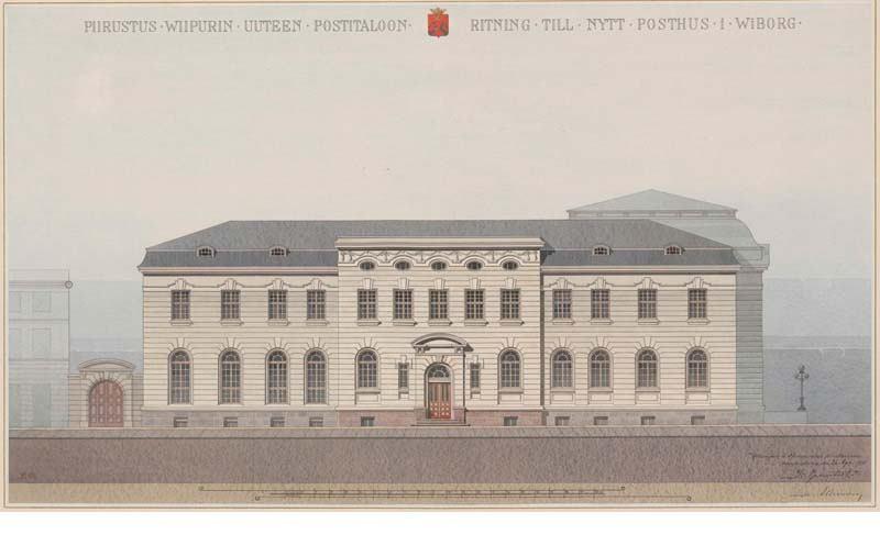 Юго-западный фасад. Проектный чертеж. Арх. Й. Я. Аренберг. 1910 г.