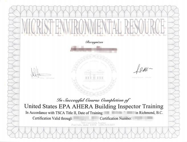 AHERA Building Inspector Training