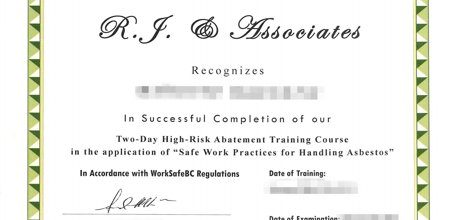 High Risk Abatement Training