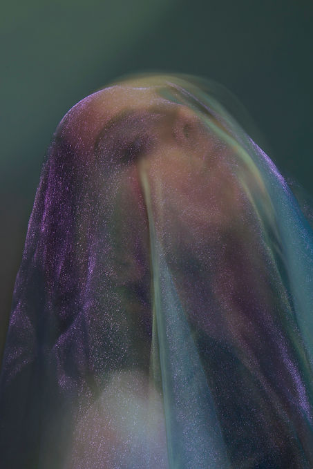 Photo: Venus, photographer, Charlotte Roth. A young, female model has her head covered by a glittering purple sheer gauze.