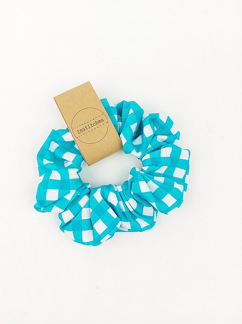 Scrunchies - Turquoise Gingham
