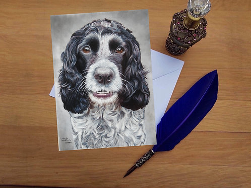 Blue Roan Cocker Spaniel greetings card.