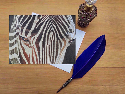 Out of the shadows; Zebra greetings card