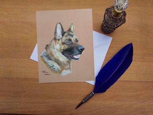 Alfie the German Shepherd greetings card.