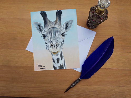 Baby giraffe greetings card