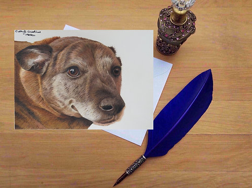 Tigger the Staffie greetings card.