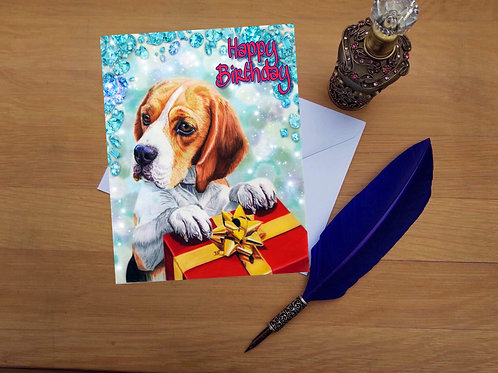 Beagle birthday card.
