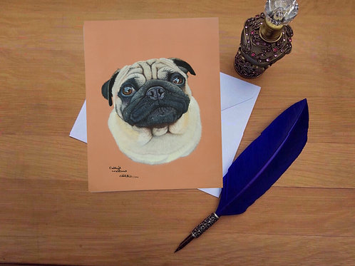 Jabba the Pug greetings card